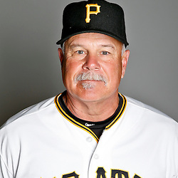 February 17, 2013; Bradenton, FL, USA;  Pittsburgh Pirates pitching coach Ray Searage (54) poses for photo day at Pirate City.  Mandatory Credit: Derick E. Hingle-USA TODAY Sports