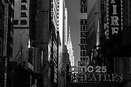 New York ,Times square district , 42nd street , in the distance , the Chrysler building,