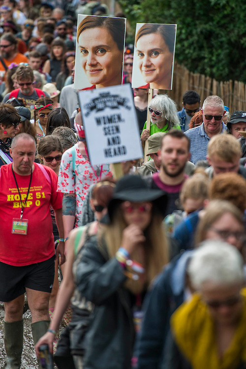 Jo Cox Memorial - Hundreds of people attend, take part in a minutes silence and then march through Glastonbury.  The 2016 Glastonbury Festival, Worthy Farm, Glastonbury.