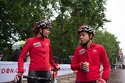 Lotto Soudal Cycling Team riders discuss the race after the Prudential Ride London Classique - a 66 km road race, starting and finishing in London on July 29, 2017, in London, United Kingdom. (Photo by Balint Hamvas/Velofocus.com)