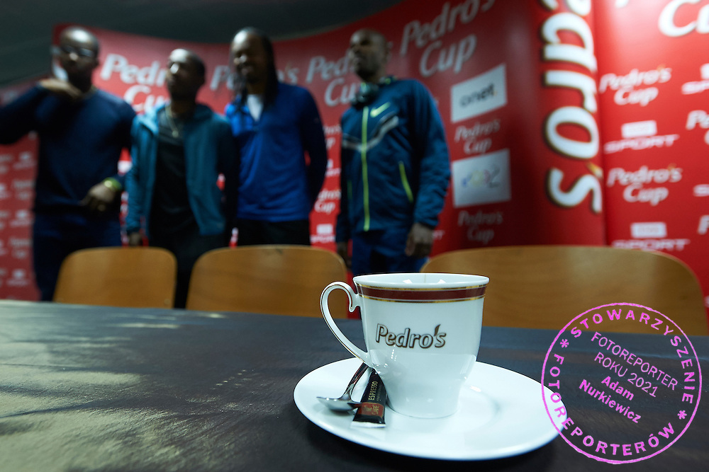 Cup of coffee during press conference one day before athletics meeting Pedro's Cup at Atlas Arena in Lodz, Poland.<br /> <br /> Poland, Lodz, February 16, 2015<br /> <br /> Picture also available in RAW (NEF) or TIFF format on special request.<br /> <br /> For editorial use only. Any commercial or promotional use requires permission.<br /> <br /> Adam Nurkiewicz declares that he has no rights to the image of people at the photographs of his authorship.<br /> <br /> Mandatory credit:<br /> Photo by &copy; Adam Nurkiewicz / Mediasport