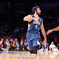 10 November 2013: Minnesota Timberwolves point guard Ricky Rubio (9) makes the no-look pass past Los Angeles Lakers small forward Xavier Henry (7) during the Minnesota Timberwolves 113-90 victory over the Los Angeles Lakers at the Staples Center, Los Angeles, California, USA.