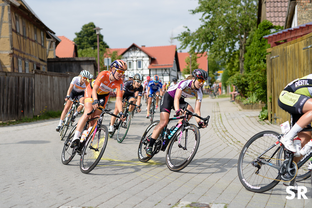 Romy Kasper and Alexis Ryan navigate the narrow streets at Thüringen Rundfarht 2016 - Stage 2 a 103km road race starting and finishing in Erfurt, Germany on 16th July 2016.
