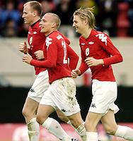 Fotball, UEFA-Cup, 02 August 2007, Brann - Carmarthen Town, Kristjan Sigurdsson, Eirik Huseklepp, jubler etter scoring.<br /> <br /> Foto: Kjetil Espetvedt, Digitalsport.