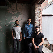 June 28, 2016 - New York, NY : From left, Jake Rosenthal, Rami Haykal, and Dhruv Chopra who co-owned the Williamsburg performance space 'Glasslands Gallery,' until it closed in 2014, pose for a portrait inside the still-under-construction 599 Johnson Ave. on Tuesday afternoon. The trio are planning to open their new venue 'Elsewhere' at 599 Johnson Ave. in Bushwick, Brooklyn. CREDIT: Karsten Moran for The New York Times