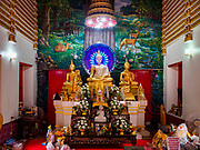 02 AUGUST 2018 - PAK KRET, NONTHABURI, THAILAND: The main prayer hall at Wat Pai Lom, a Mon temple on Ko Kret. Ko Kret (also spelled Koh Kret) is a small island in the Chao Phraya River in Nonthaburi province north of Bangkok. It is about 2 km long and 1 km wide. It has seven main villages, the largest and most populous being Ban Mon. Ko Kret was created in 1722 when a canal was dug in the Chao Phraya River to bypass a bend. Most of the people on the island are ethnically Mon, from the hills of western Thailand and eastern Myanmar (Burma). The island is popular as a weekend daytrip from Bangkok. The island is famous for the Mon style pottery made on the island.      PHOTO BY JACK KURTZ
