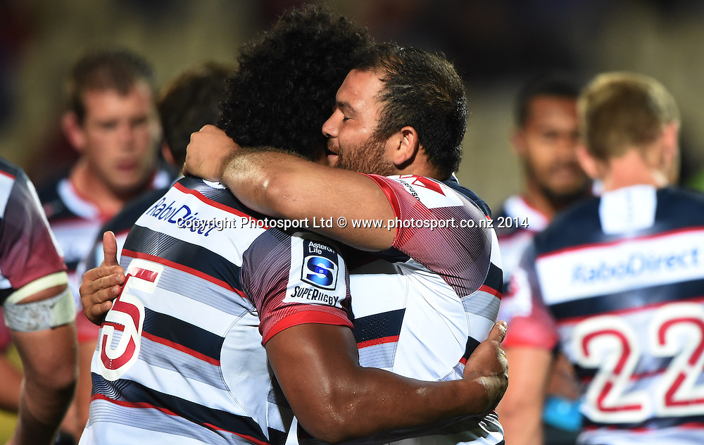 Rebels players celebrate a win over the Crusaders. Crusaders v Rebels. Super Rugby. Christchurch, New Zealand. Friday 13 February 2015. Copyright Photo: Andrew Cornaga / www.photosport.co.nz