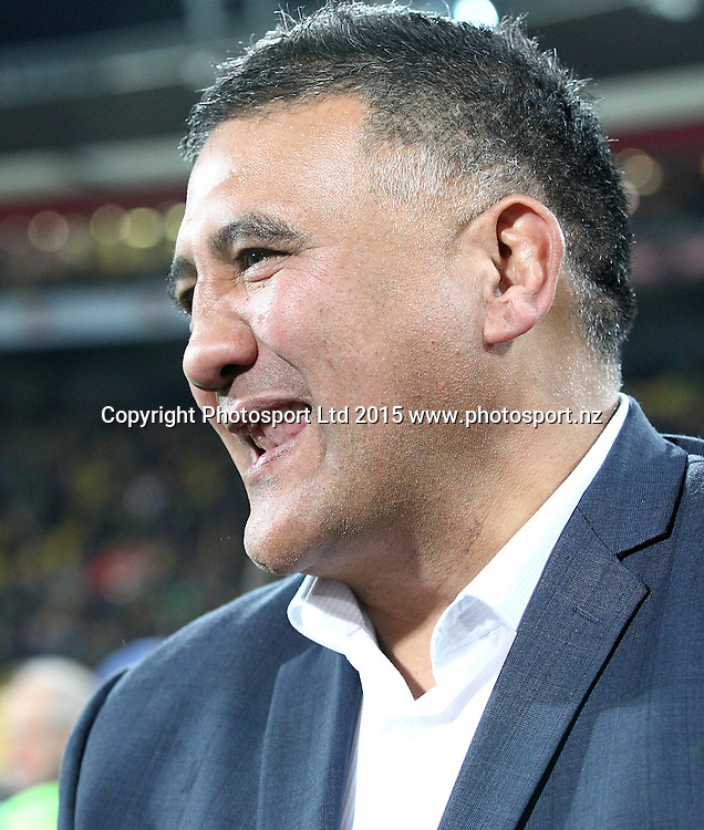 Victorious Highlanders coach Jamie Joseph following their win during the Super Rugby Final, Hurricanes v Highlanders. Westpac Stadium, Wellington, New Zealand. 4 July 2015. Copyright Photo.: Grant Down / www.photosport.nz
