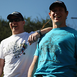 THURSDAY 13TH MAY 2010 / DURBAN SOUTH AFRICA<br /> John Smit and Deon Carstens<br /> during the Sharks  off road for the Land rover Experience