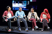Another World <br /> Losing Our Children To Islamic State <br /> directed by Nicholas Kent <br /> at Temporary Theatre, National Theatre, Southbank, London, Great Britain<br /> Press photocall <br /> 14th April 2016 <br /> <br /> <br /> <br /> Zara Azam / Lara Sawalha / Ronak Patani / Fashid Rokey <br /> as students <br /> <br /> <br /> <br /> <br /> Photograph by Elliott Franks <br /> Image licensed to Elliott Franks Photography Services