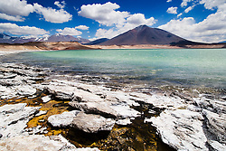 Mineral deposits and warm water of volcanic origin on shore of Laguna Verde, a saline lake in the Altiplano at about 4000m altitude