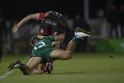 November 3, 2018 - Galway, Ireland - Will Talbot Davies of Dragons tackled by Kyle Godwin of Connacht during the Guinness PRO14 match between Connacht Rugby and Dragons at the Sportsground in Galway, Ireland on November 3, 2018  (Credit Image: © Andrew Surma/NurPhoto via ZUMA Press)