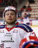 2020-02-12 | Ljungby, Sweden: Huddinge IK (2) Victor Olsson during the game between IF Troja / Ljungby and Huddinge IK at Ljungby Arena ( Photo by: Fredrik Sten | Swe Press Photo )<br /> <br /> Keywords: Ljungby, Icehockey, HockeyEttan, Ljungby Arena, IF Troja / Ljungby, Huddinge IK, fsth200212, ATG HockeyEttan, Allettan