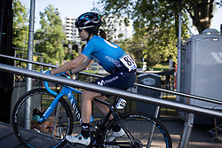 Eider Merino Cortazar (ESP) of Movistar Women's Team rides to the sign-on podium before La Course by Le Tour de France, a 121 km road race starting and finishing in Pau, France on July 19, 2019. Photo by Balint Hamvas/velofocus.com