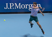Tennis - 2017 Nitto ATP Finals at The O2 - Day Five<br /> <br /> Group Boris Becker Singles: Roger Federer (Switzerland) Vs Marin Cilic (Croatia)<br /> <br /> Roger Federer (Switzerland) leaps into his forehand return at the O2 Arena<br /> <br /> COLORSPORT/DANIEL BEARHAM