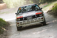 Chichester, UK - July 2013: Audi Quattro GP4 in action on the rally stage at the Goodwood Festival of Speed on July 12, 2013.