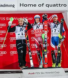 26.01.2016, Planai, Schladming, AUT, FIS Weltcup Ski Alpin, Schladming, Slalom, Herren, Siegerehrung, im Bild v.l.: Marcel Hirscher (AUT, 2. Platz), Sieger Henrik Kristoffersen (NOR) und Alexander Khoroshilov (RUS, 3. Platz) // f.l.t.r: 2nd placed Marcel Hirscher of Austria Winner Henrik Kristoffersen of Norway and 3rd placed Alexander Khoroshilov (RUS) celebrate on Podium during the winner award ceremony of men's Slalom Race of Schladming FIS Ski Alpine World Cup at the Planai in Schladming, Austria on 2016/01/26. EXPA Pictures © 2016, PhotoCredit: EXPA/ Johann Groder