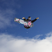 Mirabelle Thovex, France, in action during the Women's Half Pipe Qualification in the LG Snowboard FIS World Cup, during the Winter Games at Cardrona, Wanaka, New Zealand, 27th August 2011. Photo Tim Clayton...