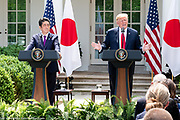 President Donald Trump and Shinzo Abe, the Prime Minister of Japan, in the Rose Garden at the White House in Washington, DC on June 7, 2018