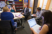 05 OCTOBER 2010 - PHOENIX, AZ: Terry Goddard (CQ) center, meets with his senior campaign team in his Jan Lesher's (CQ) CENTER LEFT, office at Goddard's headquarters. Goddard lost the election to sitting Governor Jan Brewer, a conservative Republican.     PHOTO BY JACK KURTZ