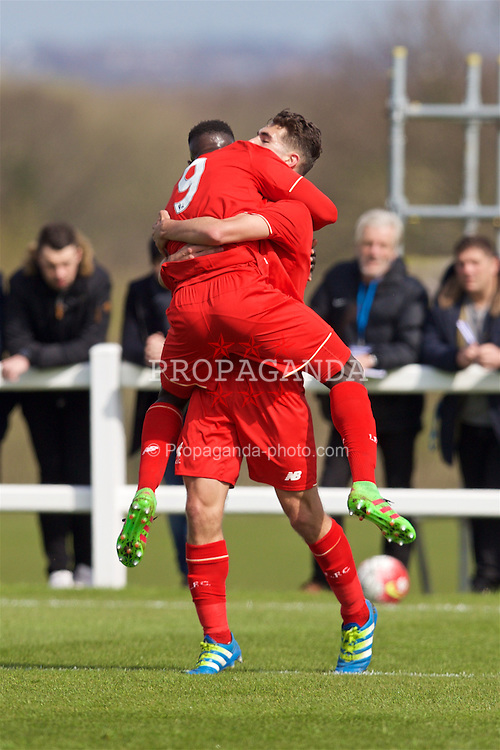 LIVERPOOL, ENGLAND - Saturday, April 9, 2016: Liverpool's Adam Phillips celebrates scoring the first goal against Everton with team-mate Toni Correia Gomes during the FA Premier League Academy match at Finch Farm. (Pic by David Rawcliffe/Propaganda)