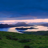 Coastal Panoramic Sunrise View from Geokaun overlooking Cahersiveen, Begenish Island Valentia Lighthouse and Knock na d'Tobar Iveragh Peninsula Ring of Kerry Ireland / vl115