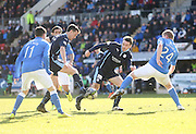 Dundee's Paul Heffernan and Paul McGinn can't find a way through the St Johnstone defence - St Johnstone v Dundee, SPFL Premiership at McDiarmid Park<br /> <br />  - &copy; David Young - www.davidyoungphoto.co.uk - email: davidyoungphoto@gmail.com