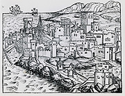 View of Rhodes. Woodcut from 'Liber chronicarum mundi', 1493.