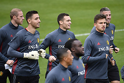 October 2, 2017 - Tubize, BELGIUM - Belgium's goalkeeper Koen Casteels, Belgium's Thomas Vermaelen and Belgium's Leander Dendoncker pictured during a training of Belgian national soccer team Red Devils, Monday 02 October 2017 in Tubize. The Red Devils will play a World Championships 2018 Qualification game against Bosnia on October 7th and against Cyprus on October 10th...BELGA PHOTO DIRK WAEM (Credit Image: © Dirk Waem/Belga via ZUMA Press)