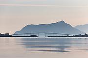 Remøy Bridge, located on the western part of Norway. Paint effect added for artisitic expression | Nydelig morgenstemning i Nørdre Vaulen med Remøy og Leinøy på hver side av Remøybrua. Malerisk effekt er lagt til