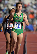 Apr 26, 2018; Philadelphia, PA, USA; Jessica Harris runs the 1,600m anchor leg on the Notre Dame women's distance medley relay that placed second in the Championship of America race in 11:03.71 during the 124th Penn Relays at Franklin Field.