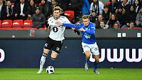 Fotball Menn Eliteserien Rosenborg-Molde<br /> Lerkendal Stadion, Trondheim<br /> 8 april 2018<br /> <br /> Nicklas Bendtner, Rosenborg (V) og Christoffer Remmer, i duell<br /> <br /> <br /> <br /> Foto : Arve Johnsen, Digitalsport