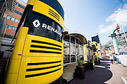 May 25-29, 2016: Monaco Grand Prix. force india motorhome, renault motorhome