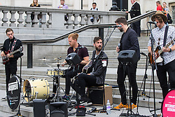Trafalgar Square, London, July 22nd 2016. International Busking Day is launched in London by Mayor Sadiq Khan together with Jessie Ware, Tinchy Strider, Irish band Keywest and The Vamps. PICTURED: Dublin band Keywest performs on the steps of Trafalgar Square.<br /> <br /> &copy;Paul Davey<br /> FOR LICENCING CONTACT: Paul Davey +44 (0) 7966 016 296 or 020 8969 6875 paul@pauldaveycreative.co.uk