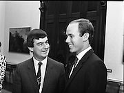Prince Albert of Monaco at Iveagh House.1986..19.09.1986..09.19.1986.19th September 1986..Prince Albert of Monaco visited Iveagh House,Dublin as part of his visit to Ireland. He was welcomed by Minister of State at the Dept.,of Foreign Affairs,Mr George Bermingham T.D...Picture shows Prince Albert arriving at Iveagh House and being welcomed by Minister of State at the Dept.,of Foreign Affairs,Mr George Bermingham T.D. Here the show a happy moment.