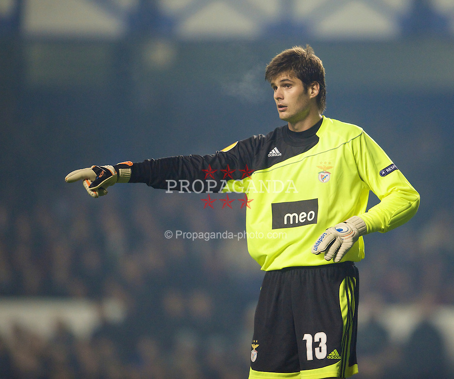 LIVERPOOL, ENGLAND - Thursday, November 5, 2009: SL Benfica's goalkeeper Julio Cesar in action against Everton during the UEFA Europa League Group Stage match at Goodison Park. (Photo by David Rawcliffe/Propaganda)