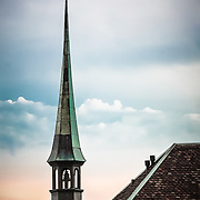 The steeple of St. Peters Kapelle (Sankt Peterskapelle) in Solothurn, Switzerland.