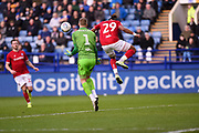 Daniel Bentley of Bristol City FC and Ashley Williams of Bristol City FC attempt to clear a dangerous ball during the EFL Sky Bet Championship match between Sheffield Wednesday and Bristol City at Hillsborough, Sheffield, England on 22 December 2019.