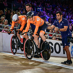 LAVREYSEN Harrie ( NED ) – Netherlands – HOOGLAND Jeffrey ( NED ) - Netherlands - Querformat - quer - horizontal - Landscape - Event/Veranstaltung: UCI Track Cycling World Championships 2020 – Track Cycling - World Championships - Berlin - Category/Kategorie: Cycling - Track Cycling – World Championships - Elite Men - Location/Ort: Europe – Germany - Berlin - Velodrom Berlin - Discipline: Sprint - Distance: ... m - Date/Datum: 01.03.2020 – Sunday – Day 5 - Photographer: © Arne Mill - frontalvision.com