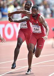 29-08-2015 CHN: IAAF World Championships Athletics day 7, Beijing<br /> USA  4 x 100 m Men: Justin Gatlin and Tyson Gay Photo by Ronald Hoogendoorn / Sportida
