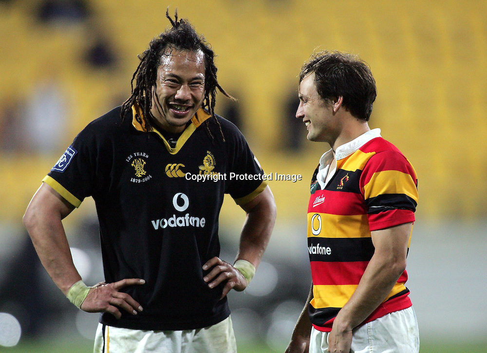 Tana Umaga with Rhys Duggan after the NPC Semi-Final match between Wellington and Waikato at Westpac Stadium, Wellington, New Zealand on Friday, 15 October, 2004. Wellington won the match, 28 - 16.<br />