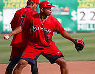 May 19, 2017 - Trenton, New Jersey, U.S - RAFAEL DEVERS, a third baseman for the Portland Sea Dogs, at practice at ARM & HAMMER Park before the game vs. the Trenton Thunder here tonight. (Credit Image: © Staton Rabin via ZUMA Wire)
