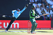 Quinton de Kock just edges it past Jonny Bairstow (WK) during the One Day International match between South Africa and England at PPC Newlands, Capetown, South Africa on 4 February 2020.