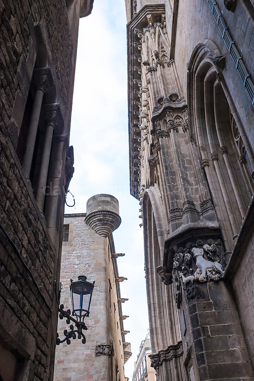 Carrer del Comtes - view of Barcelona Cathedral's 13th century architecture.