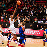 27 February 2018: San Diego State men's basketball hosts Boise State in it's last meet up of the regular season at Viejas Arena. San Diego State Aztecs forward Malik Pope (21) makes a jump shot in the paint over a Boise State defender. The Aztecs lead 38-37 at halftime. <br /> More game action at sdsuaztecphotos.com