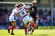 Bradford Bulls loose forward Ross Peltier (17) breaks the tackles during the Kingstone Press Championship match between Rochdale Hornets and Bradford Bulls at Spotland, Rochdale, England on 18 June 2017. Photo by Simon Davies.