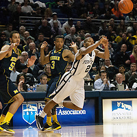 Penn State's D.J. Newbill (2) passes the ball in the first half of an NCAA basketball game in Unversity Park, Pa., Wedneday, February 27, 2013.