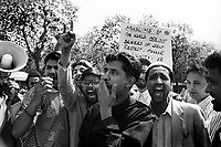 Muslim protest against Salmon Rushdie following publication of Satanic verses which blaspheming of the Prophet Muhammad. London 1989