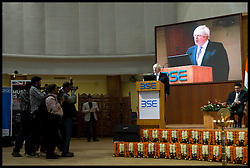 London Mayor Boris Johnson at the Bombay Stock Exchange, Mumbai, addressing businessmen, on the final day of his 6 day tour of India, Friday November 30, 2012. Photo by Andrew Parsons / i-Images