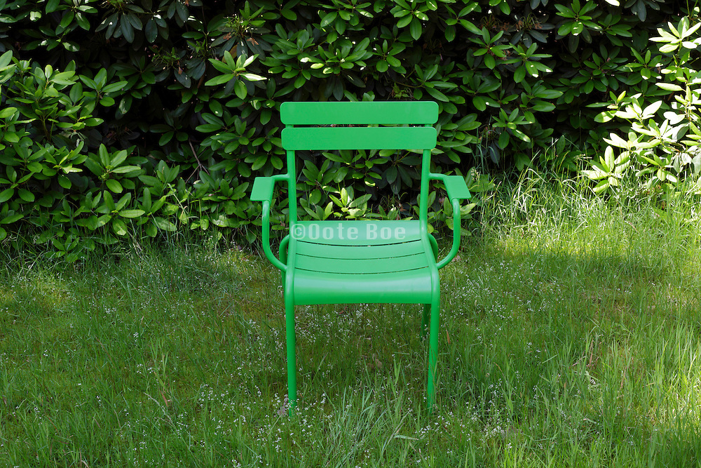 green outdoors chair against a green vegetation